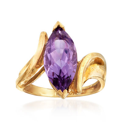 C. 1970 Vintage 2.25 Carat Amethyst Ring in 10kt Yellow Gold, , default