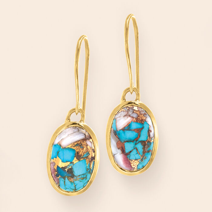 Oval Kingman Turquoise Drop Earrings in 18kt Gold Over Sterling