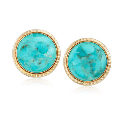 12mm Turquoise Stud Earrings in 14kt Yellow Gold