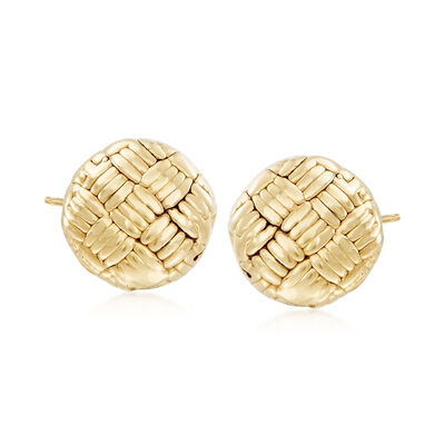 Italian 18kt Yellow Gold Basketweave Earrings, , default
