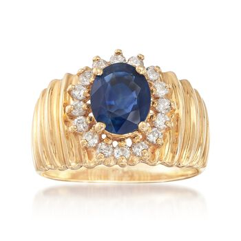 C. 1980 Vintage 1.90 Carat Sapphire and .50 ct. t.w. Diamond Ribbed Ring in 14kt Yellow Gold. Size 8.5, , default
