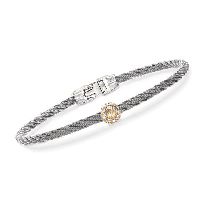 "ALOR ""Shades of Alor"" Gray Carnation Cable Station Bracelet with Diamond Accents in Stainless Steel and 18kt Yellow and White Gold. 7"", , default"