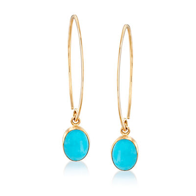 8x6mm Stabilized Turquoise Drop Earrings in 14kt Yellow Gold, , default