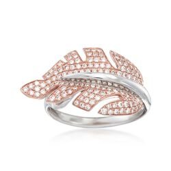 "Simon G. ""Garden"" .53 ct. t.w. Diamond Leaf Ring in 18kt Two-Tone Gold, , default"