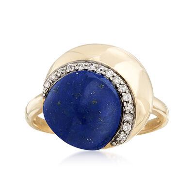 10x9.5mm Lapis Ring with .10 ct. t.w. Diamonds in 14kt Yellow Gold, , default