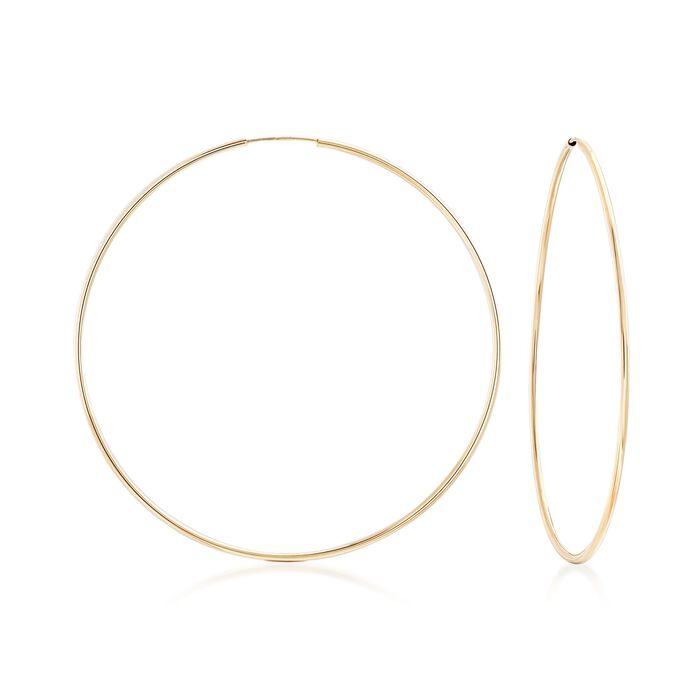 "1.5mm 14kt Yellow Gold Endless Hoop Earrings. 2 3/4"", , default"