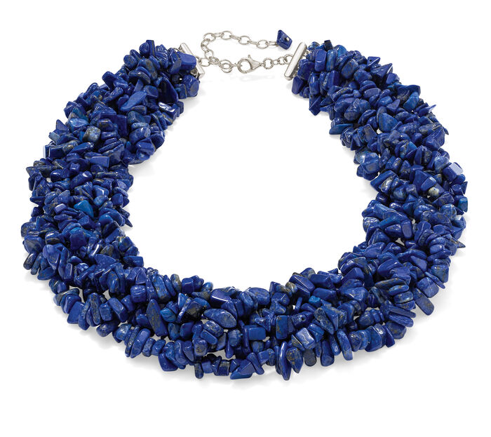 Lapis Torsade Necklace in Sterling Silver