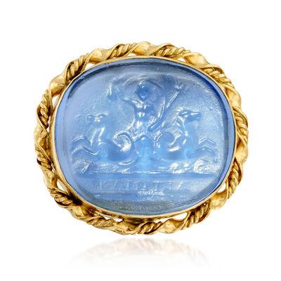 Italian Blue Venetian Glass Ring in 18kt Gold Over Sterling, , default