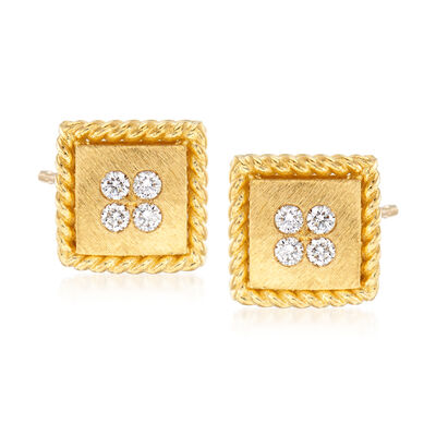 "Roberto Coin ""Palazzo Ducale"" Diamond-Accented Stud Earrings in 18kt Yellow Gold"