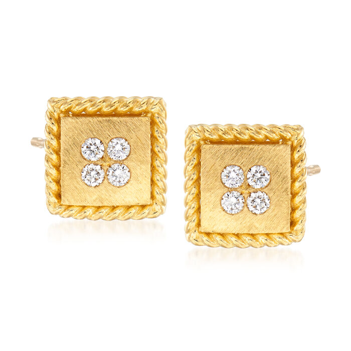 """Roberto Coin """"Palazzo Ducale"""" Diamond-Accented Stud Earrings in 18kt Yellow Gold"""