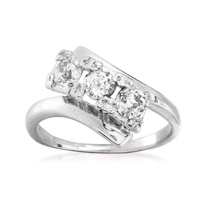 C. 1950 Vintage .55 ct. t.w. Diamond Diagonal Ring in 14kt White Gold, , default