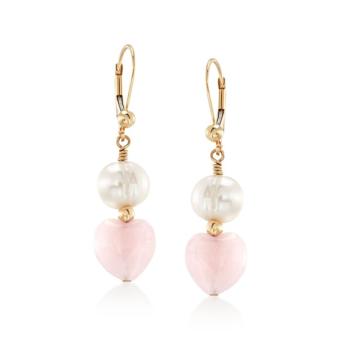 8-9mm Cultured Pearl and Rose Quartz Heart Bead Drop Earrings in 14kt Gold, , default