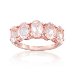 3.60 ct. t.w. Morganite Five-Stone Ring in 18kt Rose Gold Over Stelring, , default