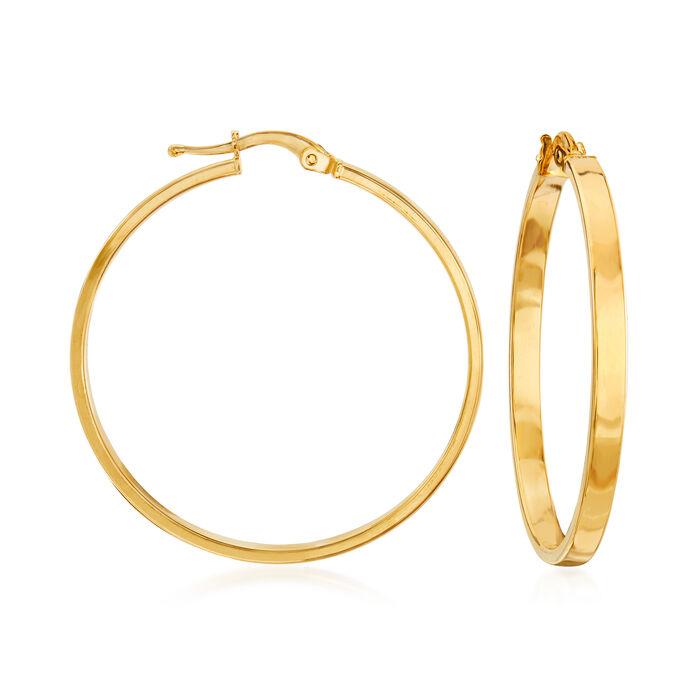 "Italian 14kt Yellow Gold Squared-Edge Hoop Earrings. 1 1/2"""