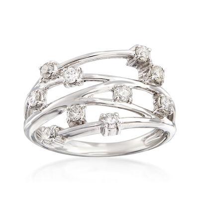 .50 ct. t.w. Diamond Crisscross Ring in 14kt White Gold, , default