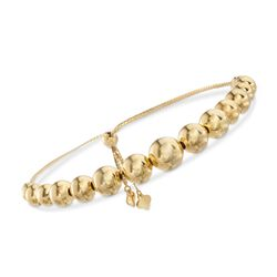 4-9mm 18kt Gold Over Sterling Silver Bead Bolo Bracelet, , default