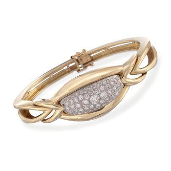 "C. 1980 Vintage 2.00 ct. t.w. Pave Diamond Bangle Bracelet in 18kt Yellow Gold. 6.5"", , default"