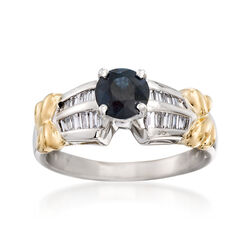C. 1990 Vintage 1.00 Carat Sapphire and .50 ct. t.w. Diamond Ring in 18kt Yellow Gold and Platinum, , default