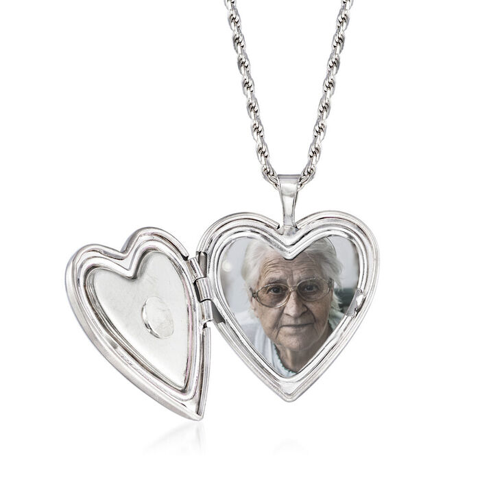 """Forever in My Heart"" Memorial and Photo Locket Pendant Necklace in Sterling Silver"