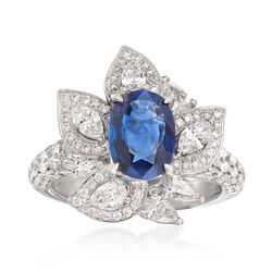 2.19 ct. t.w. Diamond and 1.90 Carat Sapphire Ring in 18kt White Gold, , default