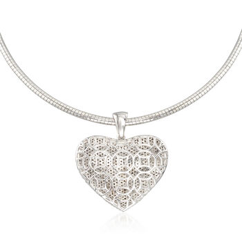 3.00 ct. t.w. Pave Diamond Heart Pendant Necklace in Sterling Silver