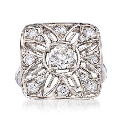C. 1950 Vintage 1.05 ct. t.w. Diamond Cut-Out Flower Ring in Platinum, , default