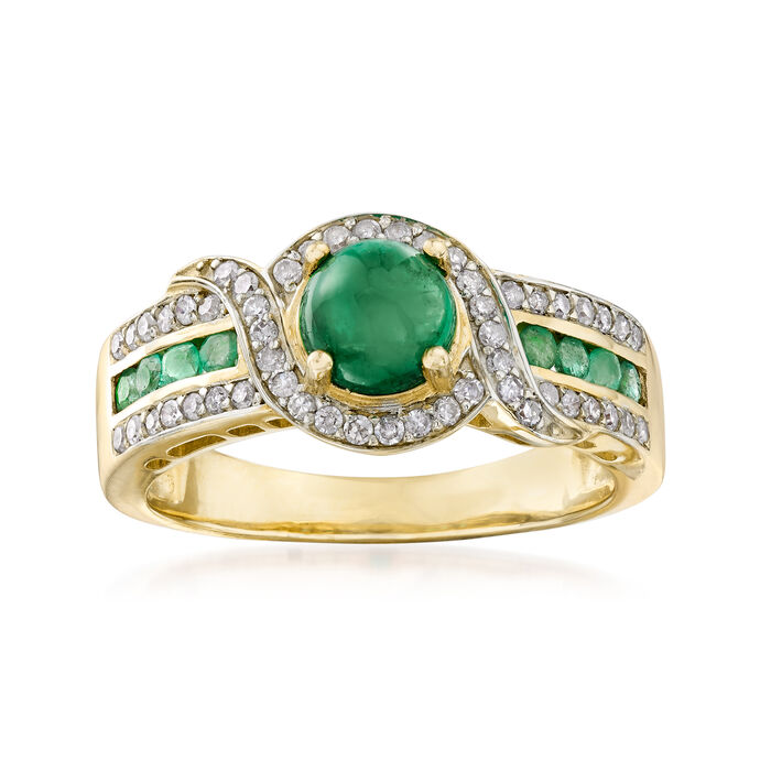 1.20 ct. t.w. Emerald and .24 ct. t.w. Diamond Ring in 14kt Yellow Gold, , default