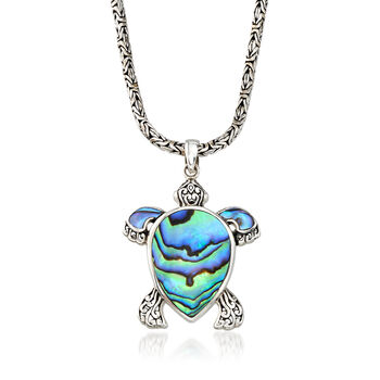 Black Abalone Shell Turtle Pendant Necklace with Sterling Silver Byzantine Chain, , default