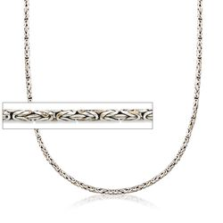 2.5mm Sterling Silver Round Byzantine Chain Necklace, , default