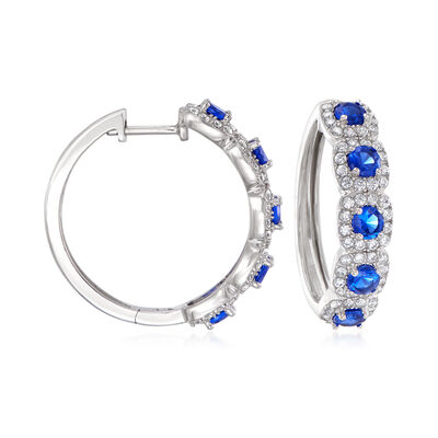 1.60 ct. t.w. Simulated Sapphire and 1.00 ct. t.w. CZ Hoop Earrings in Sterling Silver
