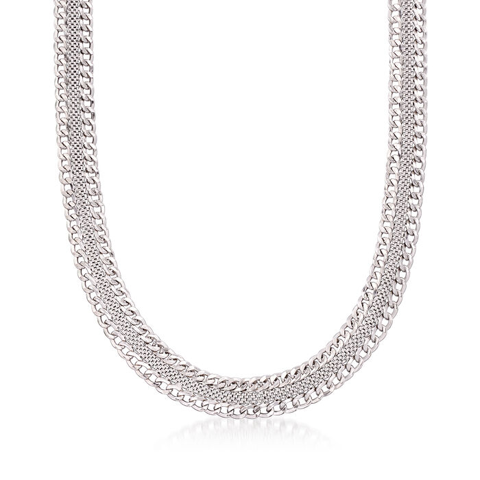 Italian Sterling Silver Mesh and Curb-Link Necklace, , default