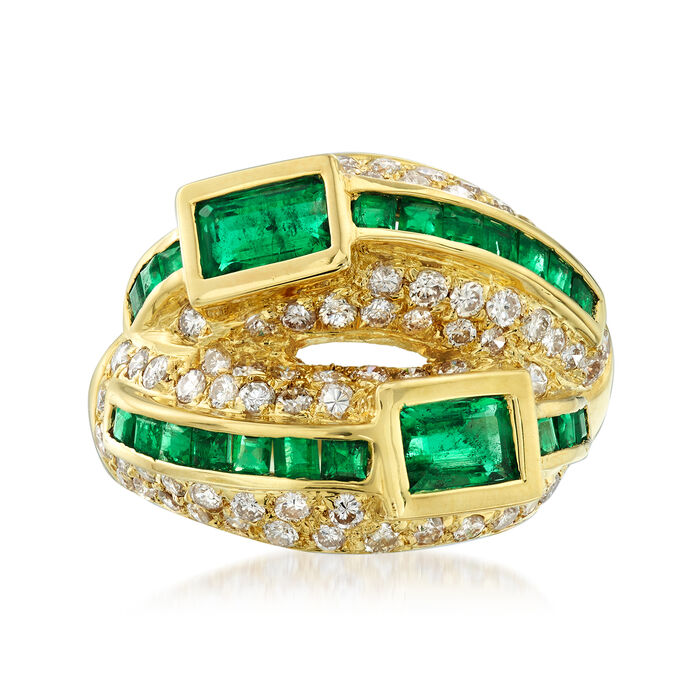 C. 1990 Vintage 1.74 ct. t.w. Emerald and 1.12 ct t.w. Diamond Ring in 18kt Yellow Gold. Size 6.5