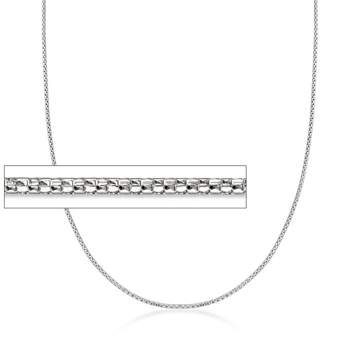 1mm 14kt White Gold Adjustable Popcorn Chain Necklace