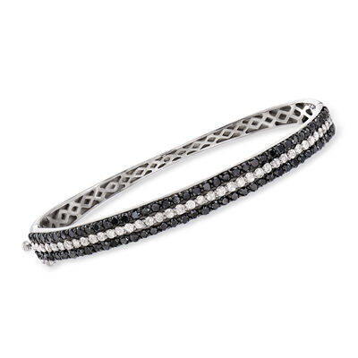 3.00 ct. t.w. Black and White Diamond Bangle Bracelet in Sterling Silver