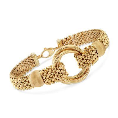 Italian 14kt Yellow Gold Mesh Circle Bracelet, , default