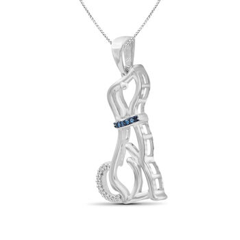 """Sterling Silver Dog Pendant Necklace with White and Blue Diamond Accents. 18"""""""