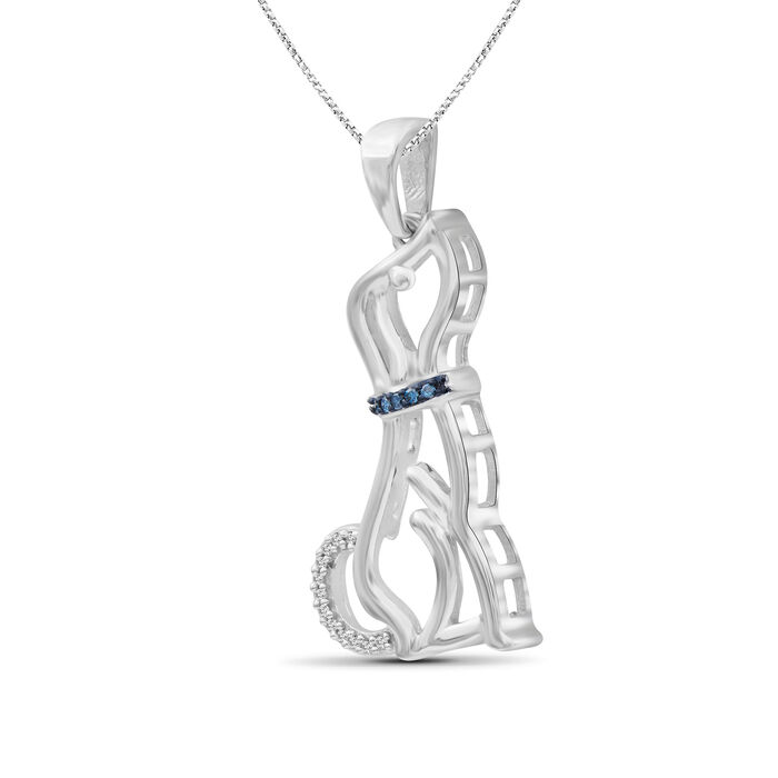Sterling Silver Dog Pendant Necklace with White and Blue Diamond Accents