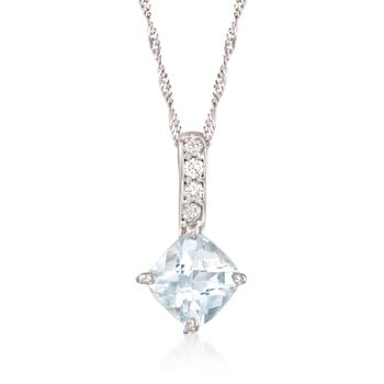 "1.00 Carat Aquamarine Pendant Necklace With Diamond Accents in 14kt White Gold. 16"", , default"