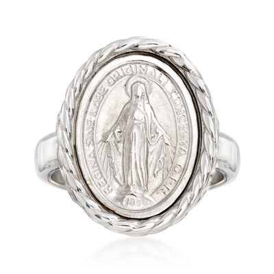 Italian Sterling Silver Miraculous Medal Oval Ring, , default