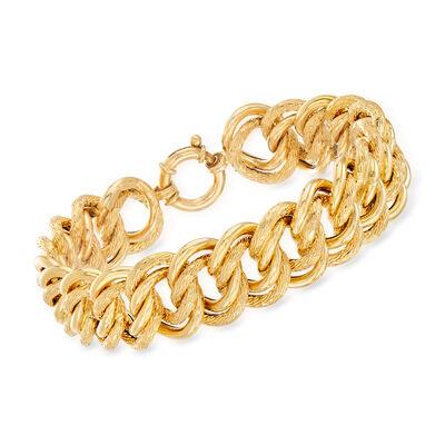 Italian 18kt Yellow Gold Large Interlocking-Link Bracelet, , default
