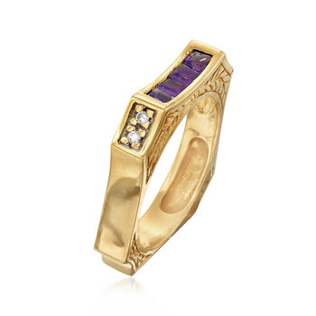 C. 1990 Vintage .50 ct. t.w. Amethyst Square Ring with Diamond Accents in 14kt Yellow Gold. Size 8