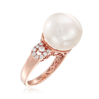 13.5mm Cultured Pearl and .36 ct. t.w. Diamond Ring in 14kt Rose Gold. Size 7.5, , default