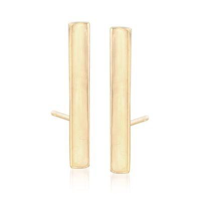 14kt Yellow Gold Bar Earrings, , default