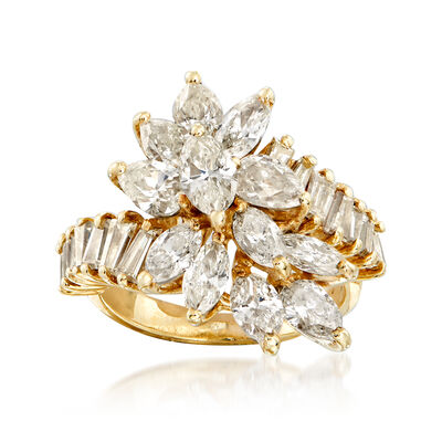 C. 1980 Vintage 3.00 ct. t.w. Diamond Cluster Ring in 14kt Yellow Gold, , default