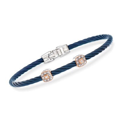"ALOR ""Shades of Alor"" Blue Carnation Cable Station Bracelet with Diamond Accents in Stainless Steel and 18kt White and Rose Gold, , default"