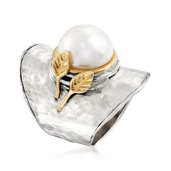 11-12mm Cultured Pearl Ring in Sterling Silver and 14kt Yellow Gold, , default