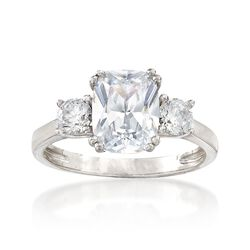 3.90 ct. t.w. CZ Royal-Inspired Engagement Ring in Sterling Silver, , default