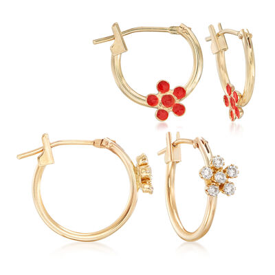 Mom & Me .18 ct. t.w. CZ and Enamel Floral Hoop Earring Set of 2 in 14kt Yellow Gold, , default