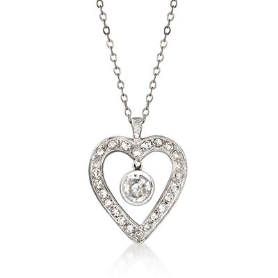 C. 1970 Vintage 1.10 ct. t.w. Diamond Heart Pendant Necklace in 14kt White Gold