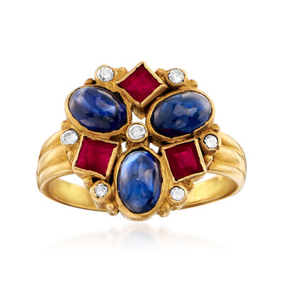 C. 1970 Vintage 1.80 ct. t.w. Sapphire, .50 ct. t.w. Ruby and .10 ct. t.w. Diamond Ring in 18kt Yellow Gold, , default